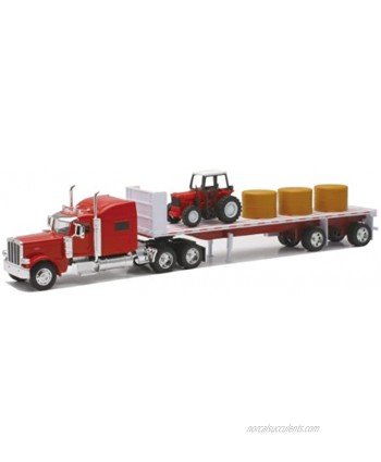 New-Ray Peterbilt 389 with Hay and Farm Tractor Playset 1 32 Scale Model Toy Vehicles 10293A