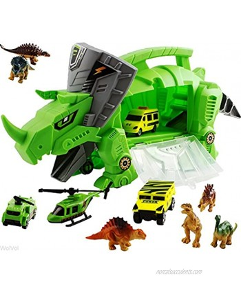 WolVolk Perfect Dinosaur Storage Carrier for Your Dinosaurs and Cars includes mini dinosaurs and car toys
